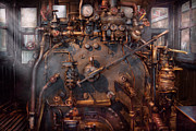 Mechanical Posters - Train - Engine - Hot under the collar  Poster by Mike Savad