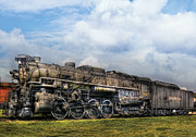 Grungy Prints - Train - Engine - Nickel Plate Road Print by Mike Savad