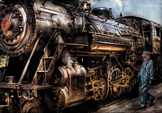 Old Person Posters - Train - Engine -  Now boarding Poster by Mike Savad