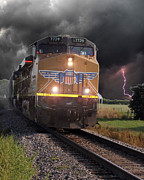 Storm Prints Digital Art Posters - Train in a storm Poster by Amy Denson