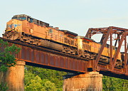 Train On Bridge Prints - Train in Arkansas Over White River Print by Nicky Dou