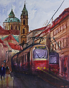 Prague Painting Framed Prints - Train in Prague Framed Print by Lior Ohayon