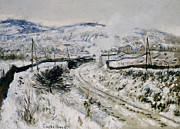 Winter Landscapes Painting Metal Prints - Train in the Snow at Argenteuil Metal Print by Claude Monet
