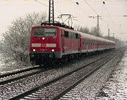 Colour Photos - Train line on a snow day by Marcio Faustino