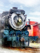 Railroads Prints - Train - Locomotive and Caboose Print by Susan Savad