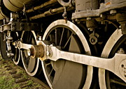 Fort Smith Arkansas Prints - Train Locomotive Wheels in Sepia Print by Kirsten Giving