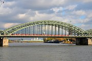 Cologne Framed Prints - Train on bridge at Rhine River Cologne Germany Framed Print by Imran Ahmed