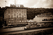 Train Framed Prints - Train Passes Station Square Pittsburgh Antique Look Framed Print by Amy Cicconi