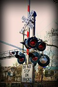 Traffic Light Prints - Train - Rail Road Crossing Print by Paul Ward