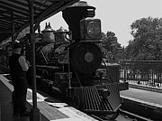 Disney Photographs Prints - Train Ride Magic Kingdom Black and White Print by Thomas Woolworth