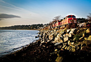 Seascape Digital Art - Train Speeding Through Whiterock by Eva Kondzialkiewicz