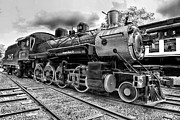 Watertower Prints - Train - Steam Engine Locomotive 385 in black and white Print by Paul Ward