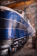 Diesel Locomotives Prints - Train - The maintenance facility  Print by Mike Savad