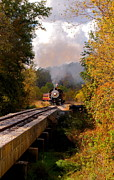 Oil Burner Prints - Train Through The Valley Print by Robert Frederick