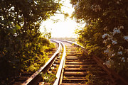 City Photography Photos - Train Tracks at Sunset by Vivienne Gucwa