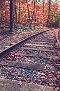 Vermont Fall Foliage Framed Prints - Train Tracks Framed Print by Edward Fielding