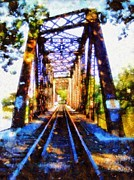 Skies Mixed Media Prints - Train Trestle Bethlehem Pa Print by Janine Riley