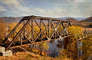 Fall Photographs Prints - Train Trestle Print by Kathy Jennings