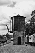 Journeyman Prints - Train - Water Tower -  black and white Print by Paul Ward
