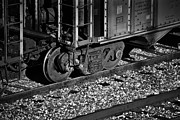 Rusted Cars Framed Prints - Train Wheels and Tracks b/w Framed Print by Greg Jackson