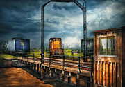 Dark Gray Prints - Train - Yard - On the turntable Print by Mike Savad