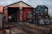 Old Train Prints - Train - Yard - Strasburg Repair Center Print by Mike Savad