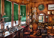 Clock Posters - Train - Yard - The stationmasters office  Poster by Mike Savad