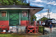 Porch Prints - Train - Yard - The Train Station Print by Mike Savad