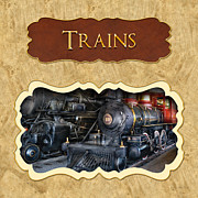 Railroads Posters - Trains button Poster by Mike Savad
