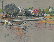 Industrial Pastels Originals - Trains coming by Donald Maier