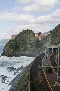 Sea Platform Prints - Trainstation in Manarola Italy Print by Patricia Hofmeester
