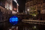 Night Scene Prints - Trajectum Lumen Project. Blue Bridge 2. Netherlands Print by Jenny Rainbow