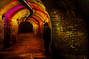 Night Scene Prints - Trajectum Lumen Project. GANZENMARKT TUNNEL 9. Netherlands Print by Jenny Rainbow