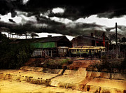 Sheds Framed Prints - Tram Graveyard Framed Print by Carl Rolfe