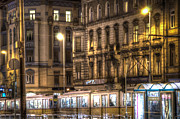 European City Digital Art - Tram night by Nathan Wright