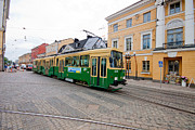 Helsinki Finland Prints - Tram on Helskinki Street Print by Thomas Marchessault