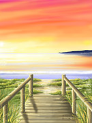 Sunset Seascape Digital Art Prints - Tramonto di fine estate Print by Veronica Minozzi