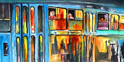 Prague Painting Framed Prints - Tramway Travellers in Prague Framed Print by Miki De Goodaboom