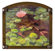 Lilly Pond Paintings - Tranquil Moments with Gold Leaf by Vic Mastis by Vic  Mastis