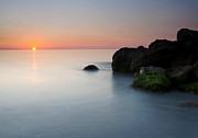 Jetty Posters - Tranquil Sunset Poster by Mike  Dawson