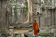 Buddhist Monk Photos - Tranquility In Angkor Wat Cambodia by Bob Christopher