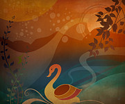 Geese Mixed Media - Tranquility Sunset by Bedros Awak