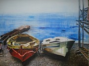 Sea Platform Painting Posters - Tranquility Till Tide from The Farewell Songs Poster by Prasenjit Dhar