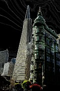 Sentinel Building Prints - Transamerica and Zoetrope in S F Print by David Bearden