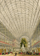 Crystal Palace Framed Prints - Transept of the Crystal Palace Framed Print by George Hawkins