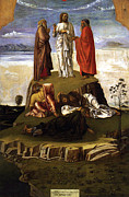 Jesus Art Painting Framed Prints - Transfiguration of Christ on Mount Tabor 1455 Giovanni Bellini Framed Print by Karon Melillo DeVega