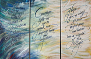 Calligraphy Mixed Media Prints - Transformation From Darkness into Light Print by Kathy Barker