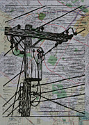 Austin Drawings - Transformer on Map by William Cauthern