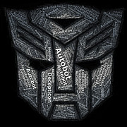 Paul Van Scott Framed Prints - Transformers Autobot Word Mosaic Framed Print by Paul Van Scott