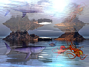 Aquatic Digital Art Metal Prints - Translucent Interactions Metal Print by Betsy A Cutler East Coast Barrier Islands